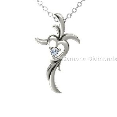 Diamond cross heart pendant in 14k white gold for christmas sale gorgeous white diamond cross heart pendant in 14k white gold spiritual heart cross pendant necklace with natural black diamond in 14k yellow gold mozeypictures Images