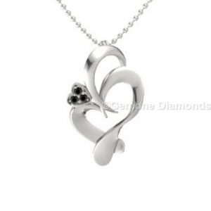 black diamond white gold pendant