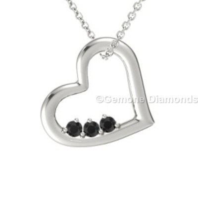 black diamond heart-shaped pendant