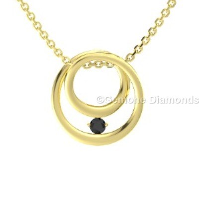 yellow gold inner circle pendant