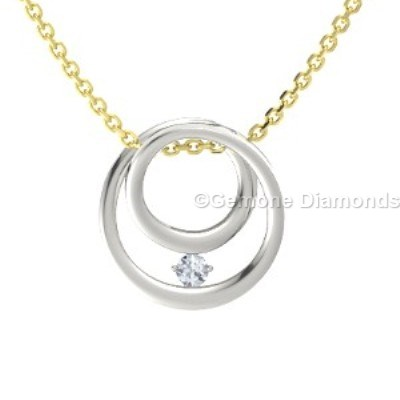 white diamond inner circle pendant