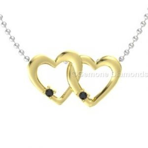 yellow gold linked hearts pendant