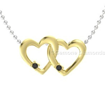 yellow gold linked heart-shaped pendant