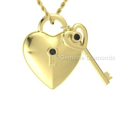 necklace amazon lock and pendant key sterling com heart dp diamond silver cttw