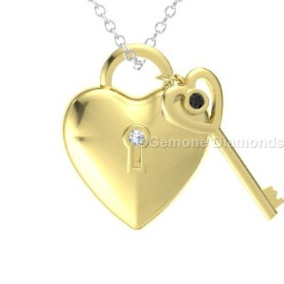 Heart lock and key necklace in 14k yellow gold from gemone diamond heart lock and key necklace with black and white diamonds in 14k yellow gold a lot of 30 carat 40 mm to 50 mm congo cubes natural raw diamonds lot aloadofball Gallery