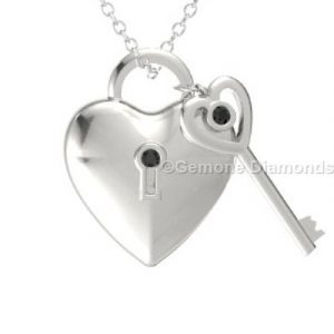 diamond lock key pendant