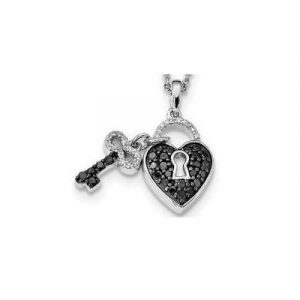 key lock heart diamond pendant