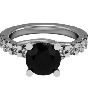 black diamond bridal ring