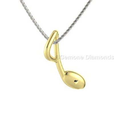 Musical note necklace in 14k yellow gold for music lovers sale online for music lovers musical note necklace aloadofball Choice Image