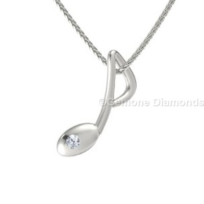 diamond musical note pendant