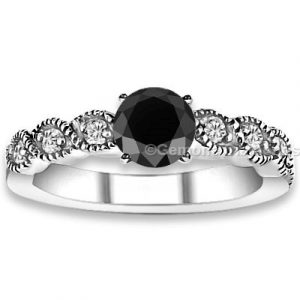 black diamond shank engagement ring