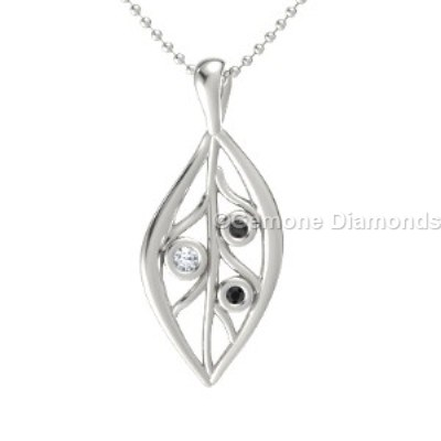 diamonds open leaf pendant