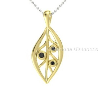 yellow gold leaf diamond pendant