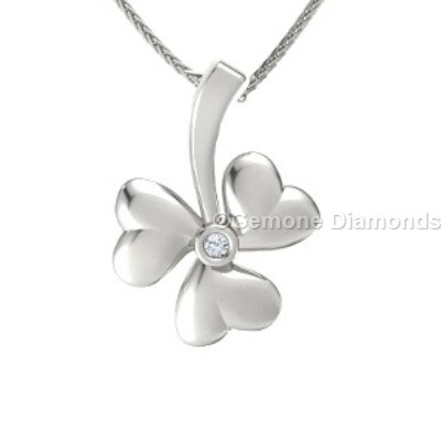 white gold shamrock pendant