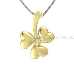 yellow gold shamrock necklace pedant