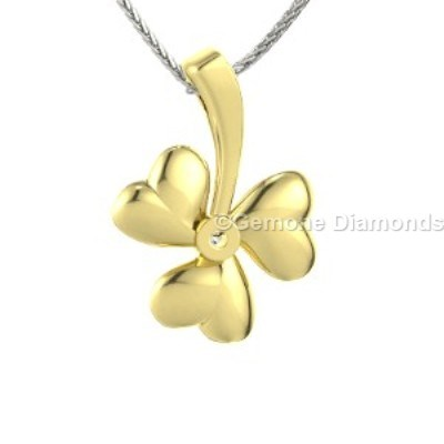Yellow gold shamrock necklace pedant in 14k for fashion lovers cute 14k yellow gold shamrock necklace aloadofball Gallery