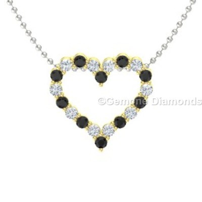 Black and white diamond heart shape pendant in 14k gold for sale charming black and white diamond heart pendant in 14k yellow gold lovely black and white diamonds heart necklace in 14k white goldadmirable 14k white gold mozeypictures Images