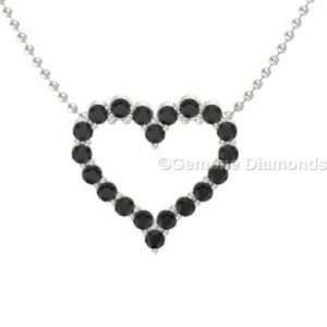 white gold black diamond heart necklace
