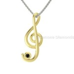treble clef diamond pendants