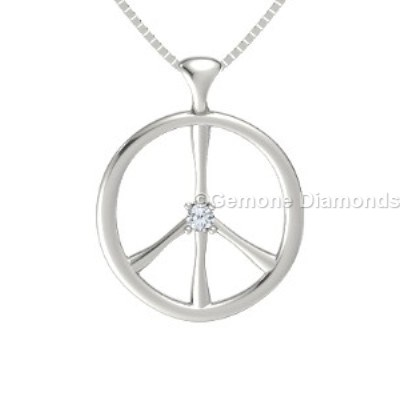 diamond peace sign pendant