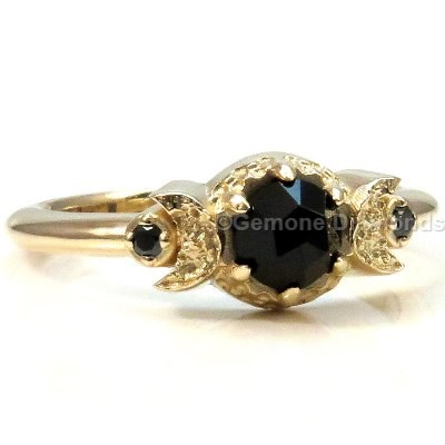 crescent moon engagement ring