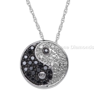 Yin yang necklace from gemone diamonds online for fashion lovers natural black and white diamonds yin yang necklace pendant in 14k white gold peace sign yin yang pendant circle with black diamonds aloadofball Images
