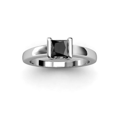 princess cut solitaire black diamond ring