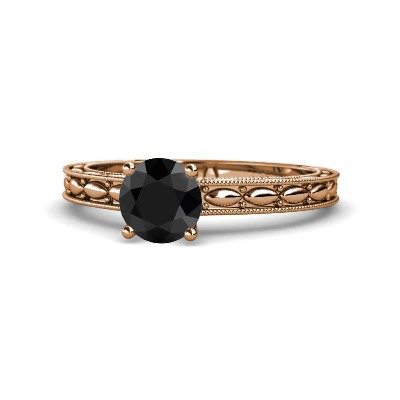 rose gold solitaire black diamond ring
