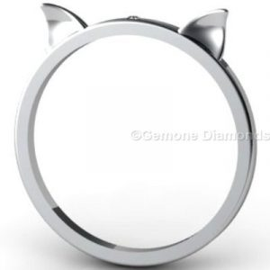 white gold cat ears ring