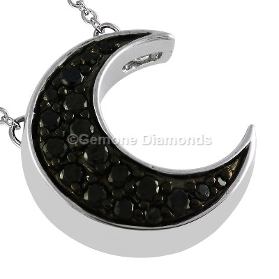 Crescent moon pendant with natural black diamonds for sale online gothic crescent moon pendant aloadofball Image collections