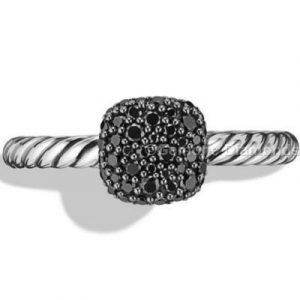 black diamond pave cushion ring