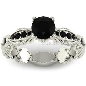 designer black diamond engagement ring