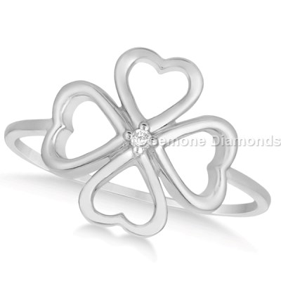 diamond heart flower ring