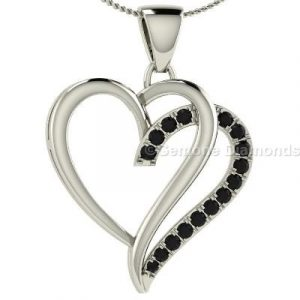 heart-shaped black diamond pendants