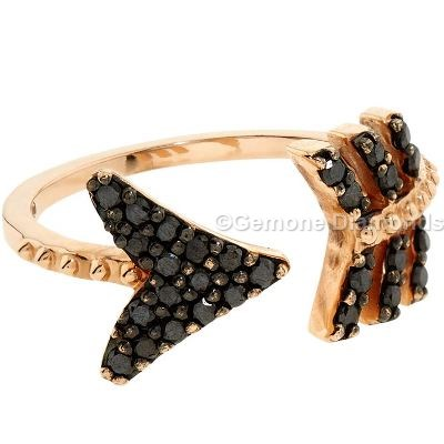 black diamond curved arrow ring