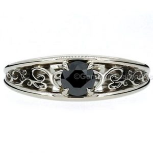 filigree black diamond ring