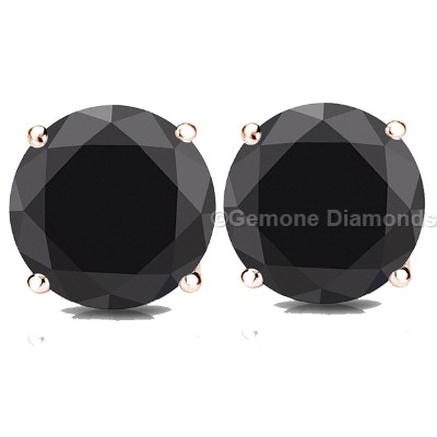 3 Carat Black Diamond Earrings Stud In 14k Rose Gold 2 50 Carats With For Online3 Studs