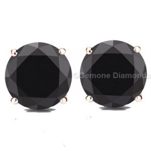 black diamond rose gold stud earrings