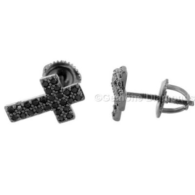 Angelic Natural Black Diamond Cross Earrings Crafted In 14k White Gold