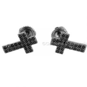 black diamond cross earrings