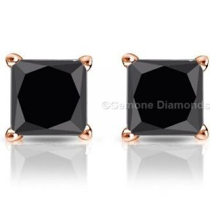 black diamond princess cut stud earrings