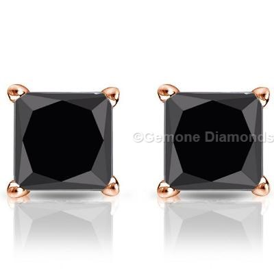 4 Carat Black Diamond Earrings Princess Cut Crafted In 14k Rose Gold 3 50 With Diamonds4