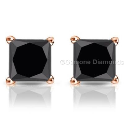 Black Diamond Princess Cut Earrings In 14k Rose Gold With 0 50 Carat Weight 5 Stud Diamonds Gold1