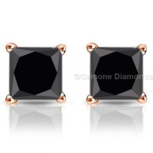 black diamond earrings princess cut