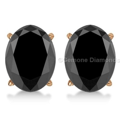 5 00 Carat Brilliant Oval Diamond Stud Earrings Online With Black Diamonds In 14k Rose Gold 4 50 Natural