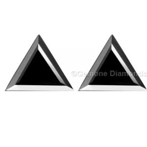 pair natural loose triangle cut black diamond