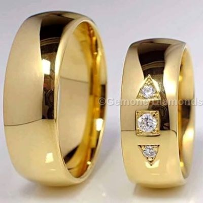 Adorable Diamond Wedding Bands In 14k Yellow Gold For Him And Her. 2.50  Carat Of Natural Loose Triangle Shape Black Diamond In AAA Quality For Stud  ...