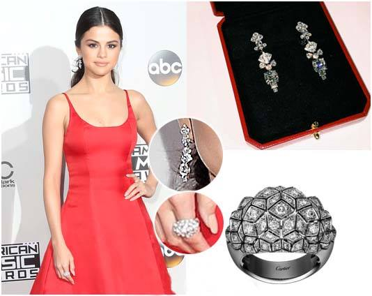 Cartier Ring and Earrings Selena Gomez Jewelry