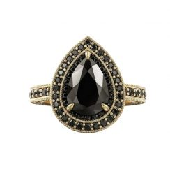 2ct diamond ring with black diamond halo