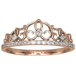 Pave White Diamond Crown Ring